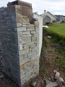Stone entrances piers built with Liscannor Lough stone.