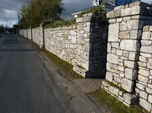 Limestone stone walls built in Shanagarry.