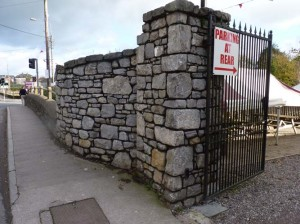 Stone entrances piers built with Limestone at Pat Shortts Bar, Castlemartyr, Co. Cork.