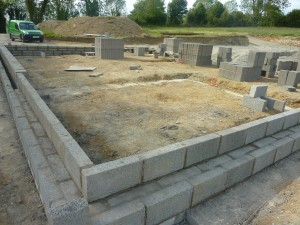 Blockwork base for house